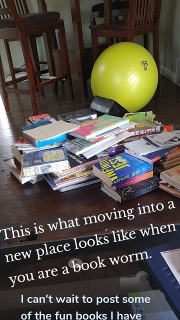 This is what moving into a new place looks like when you are a book worm. I can't wait to post some of the fun books I have finished lately.